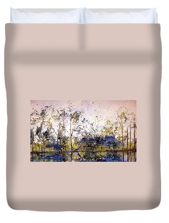 Abstract Duvet Cover featuring the painting Along The River Bank by Ruth Palmer