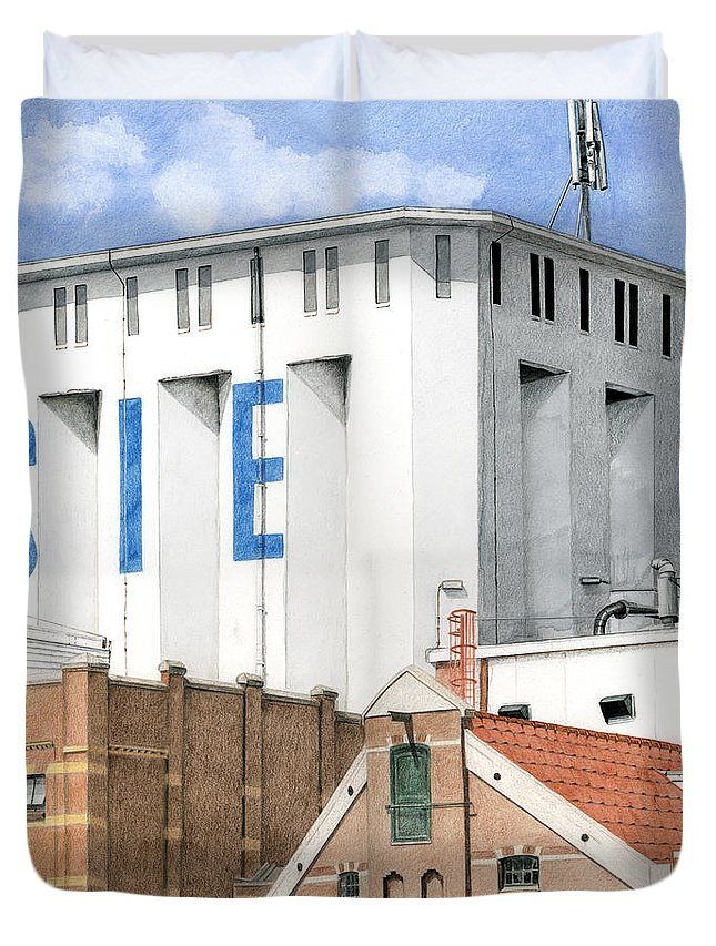 Mixed Media Duvet Cover featuring the mixed media Along The River Zaan Lassie Silo by Rob De Vries