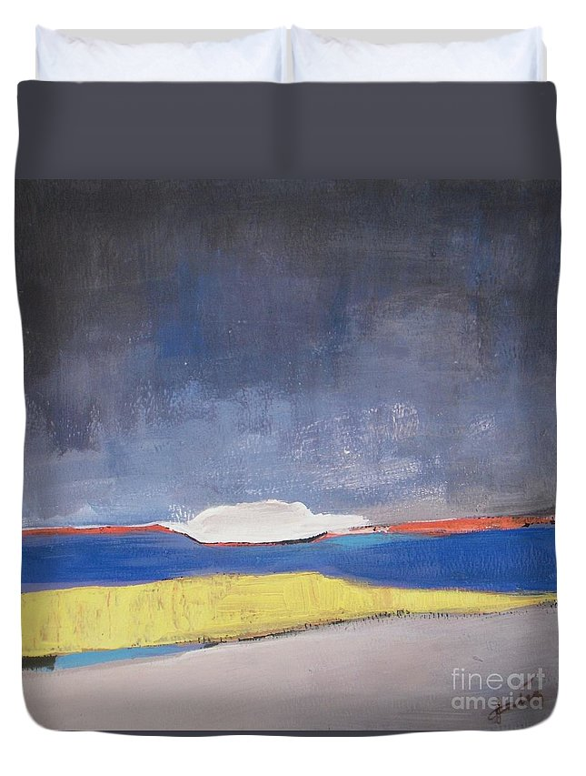 Abstract Landscape Duvet Cover featuring the painting Along The Shoreline by Vesna Antic