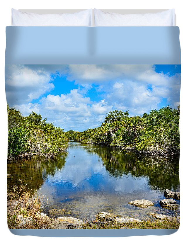 Reflection Duvet Cover featuring the photograph Along The Trail by Lisa Kilby