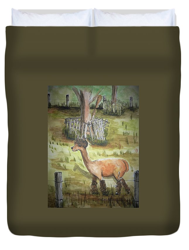 Alpaca Duvet Cover featuring the painting Alpaca Glory by Diane Palmer