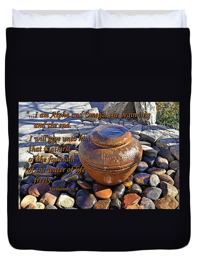 Scripture Duvet Cover featuring the photograph Alpha And Omega by Larry Bishop