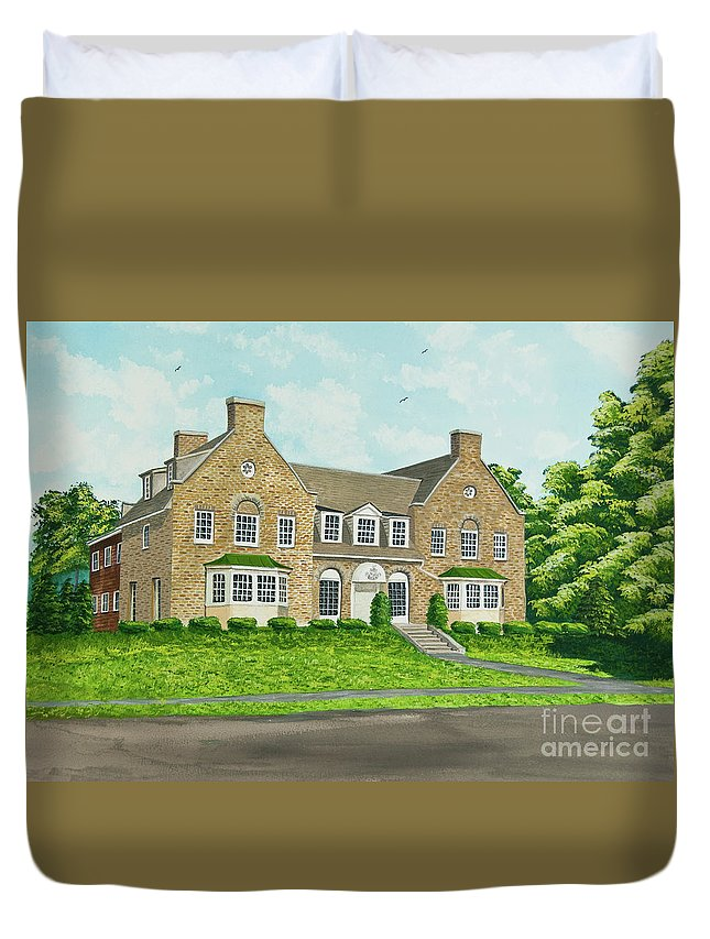 Colgate University Fraternity House Duvet Cover featuring the painting Alpha Tau Omega by Charlotte Blanchard