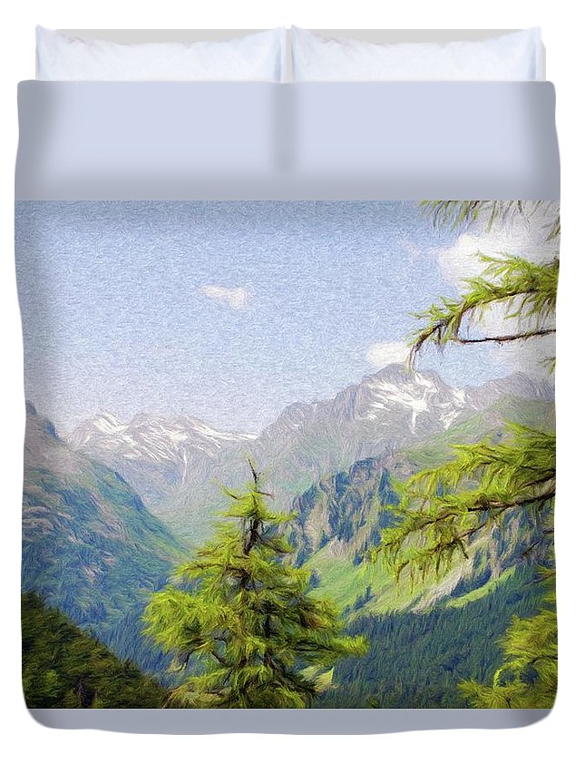 Alpine Duvet Cover featuring the painting Alpine Altitude by Jeffrey Kolker