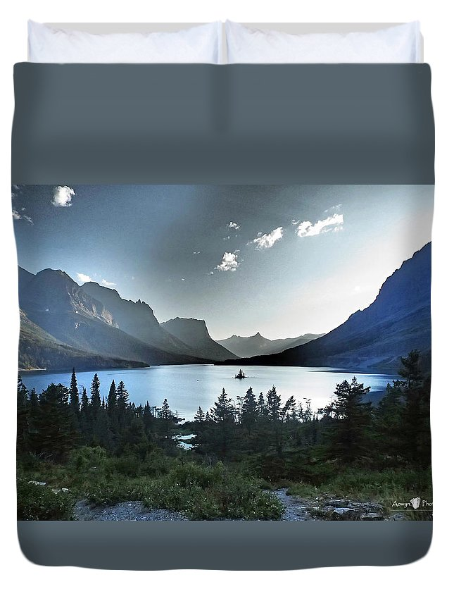 St. Mary Lake Duvet Cover featuring the photograph Alpine Dusk by Stephanie McGuire