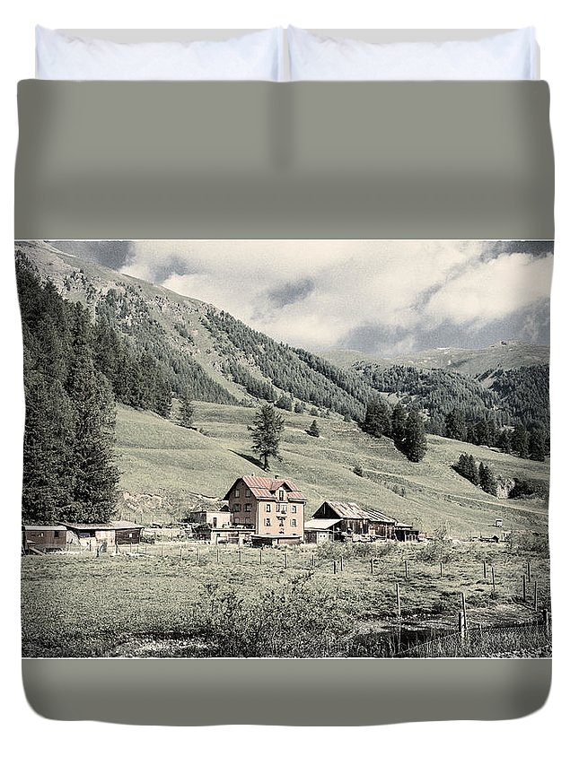 Swiss Farm Duvet Cover featuring the photograph Alpine Farm by Peter v Quenter