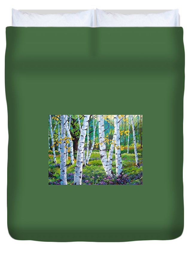 Birche; Birches; Tree; Trees; Nature; Landscape; Landscapes Scenic; Richard T. Pranke; Canadian Artist Painter Duvet Cover featuring the painting Alpine Flowers And Birches by Richard T Pranke
