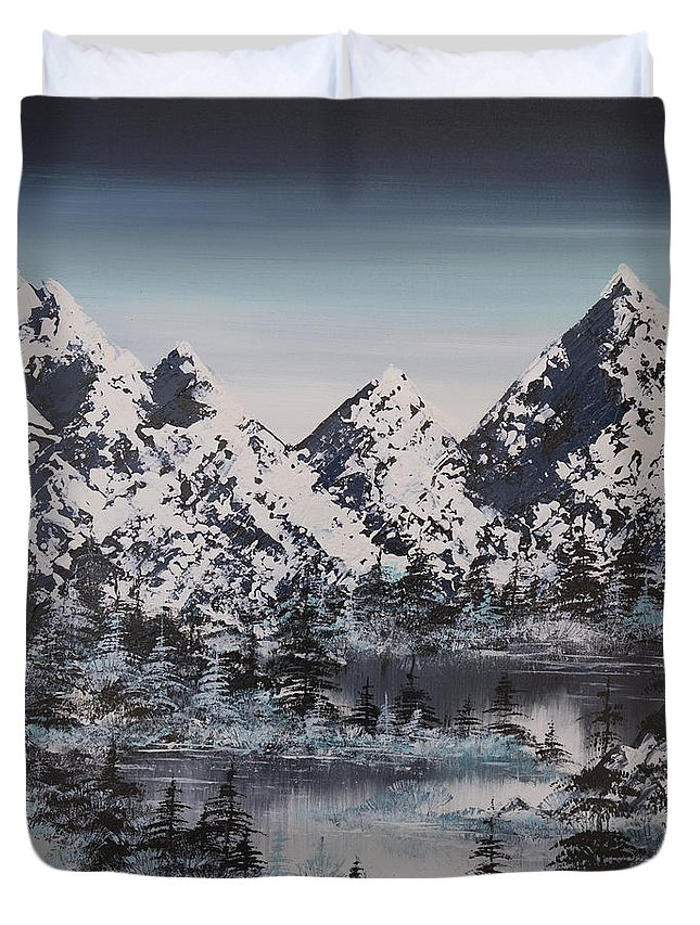 Mountains Duvet Cover featuring the painting Alpine Peaks by Irina Rumyantseva