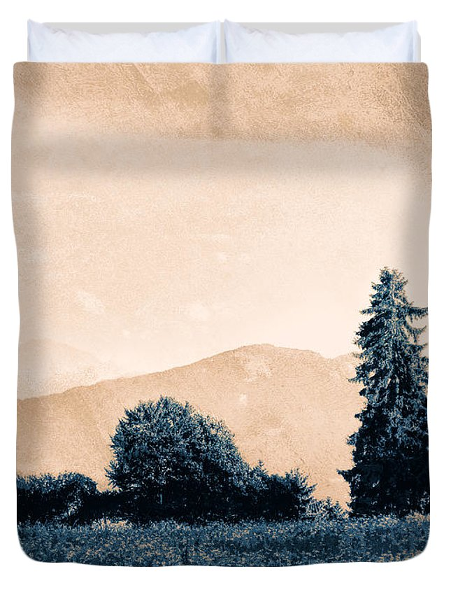 Vintage Duvet Cover featuring the photograph Alpine Western by Antique Images
