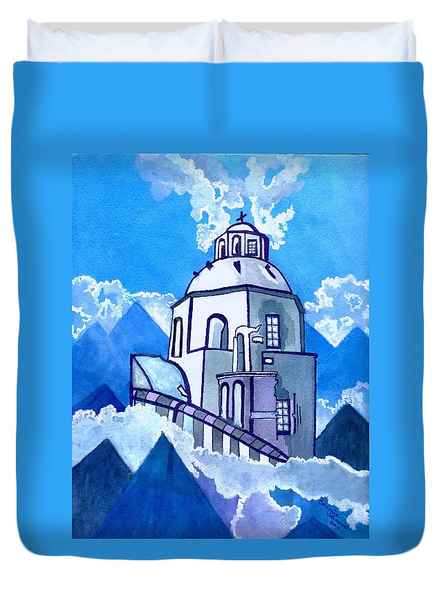 Blue Sky Duvet Cover featuring the painting Already In Heaven by Connie Valasco