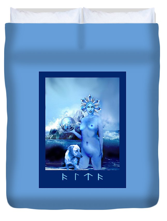 Blue Duvet Cover featuring the digital art Alta, Roman Goddess Of Water by Patricia Banks