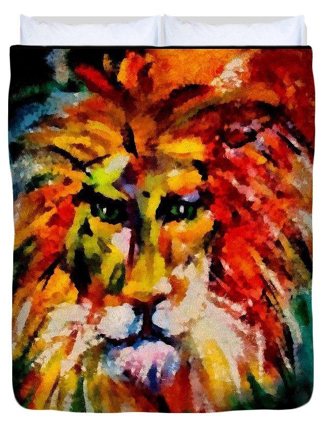 Lion Duvet Cover featuring the mixed media Alter Ego by Dragica Micki Fortuna