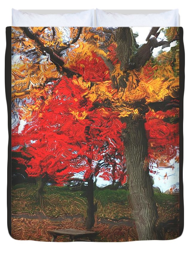 Abstract Digital Photo Duvet Cover featuring the digital art Altered State In The Park by David Lane
