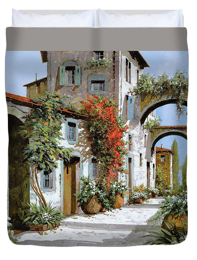 Arches Duvet Cover featuring the painting Altri Archi by Guido Borelli