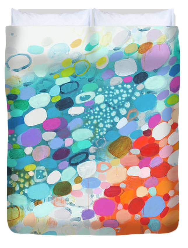 Abstract Duvet Cover featuring the painting Always Looking For True Love by Claire Desjardins