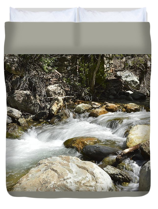 Water Duvet Cover featuring the photograph Always Rushing by Tammy Stoner