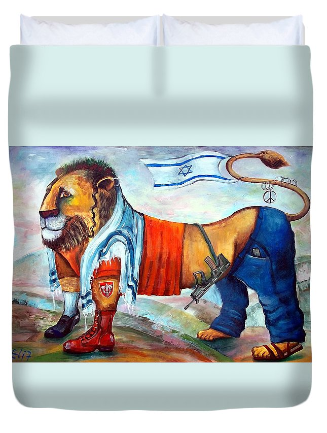 Israelis Duvet Cover featuring the painting Am Israel Hay by Elisheva Nesis