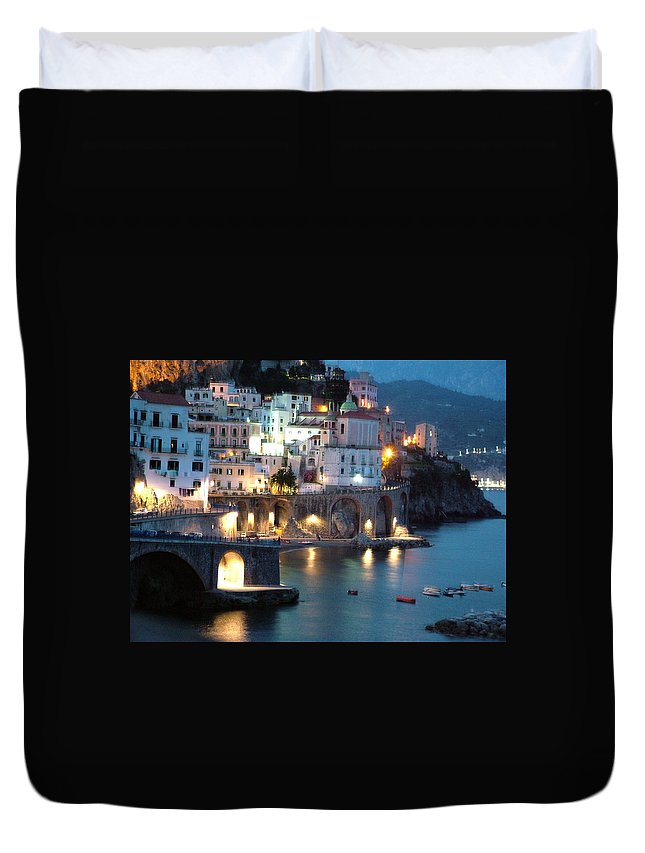 Horizontal Duvet Cover featuring the photograph Amalfi Coast At Night by Donna Corless