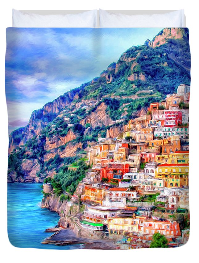 Positano Duvet Cover featuring the painting Amalfi Coast At Positano by Dominic Piperata