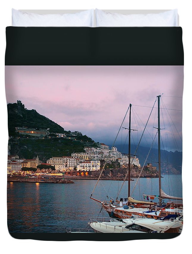 Amalfi Duvet Cover featuring the photograph Amalfi Harbor Sunset by Daryl L Hunter