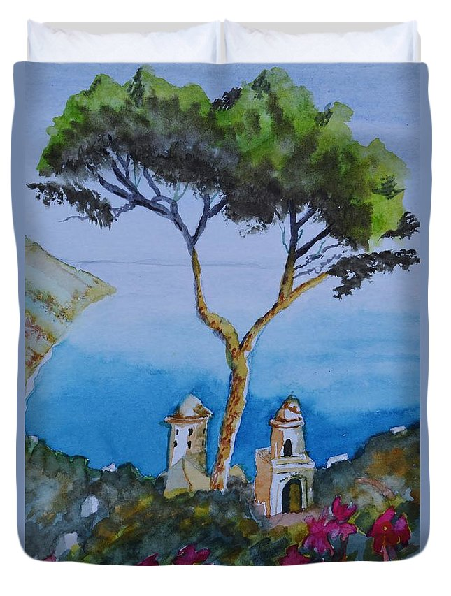 Amalfi Italy Color Duvet Cover featuring the painting Amalfi Italy Color by Warren Thompson