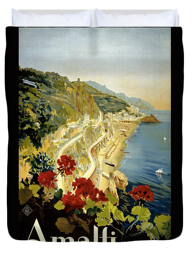 Amalfi Duvet Cover featuring the painting Amalfi Italy Italia Vintage Poster Restored by Carsten Reisinger