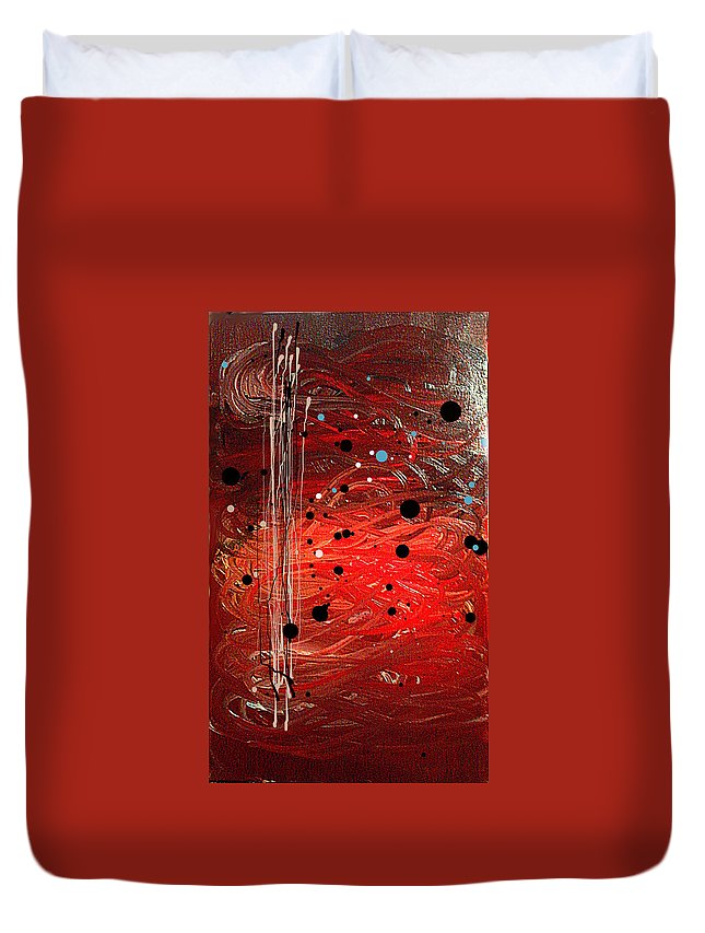 Oil Duvet Cover featuring the painting Amalga by Liberio Art