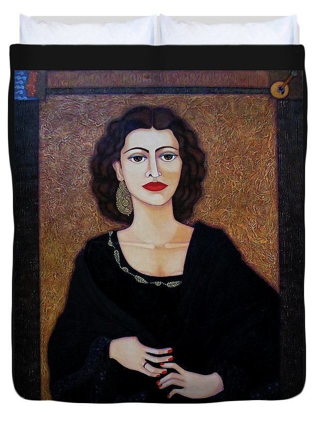 Portrait Duvet Cover featuring the painting Amalia Rodrigues - Music Born In The Soul by Madalena Lobao-Tello