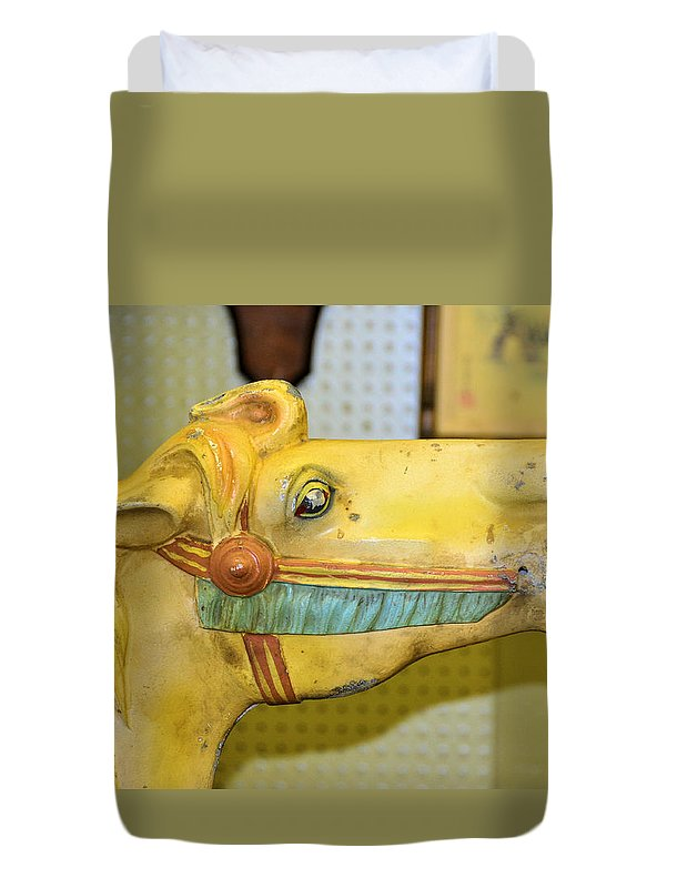 Carousel Horses Duvet Cover featuring the photograph Amarillo by Jan Amiss Photography