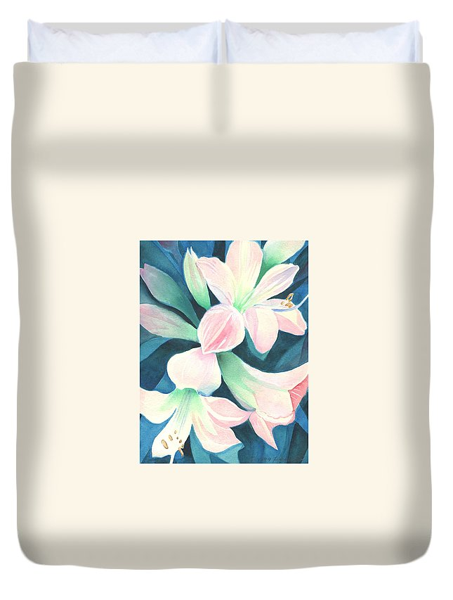 Flower Duvet Cover featuring the painting Amaryllis by Helena Tiainen