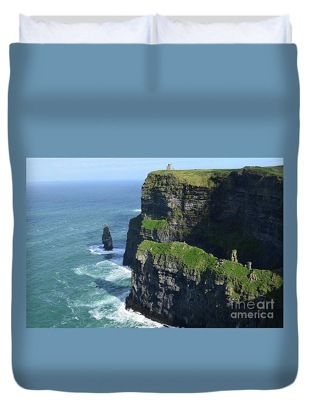 Needle Duvet Cover featuring the photograph Amazing Look At The Sea Cliff's Of Moher In Ireland by DejaVu Designs