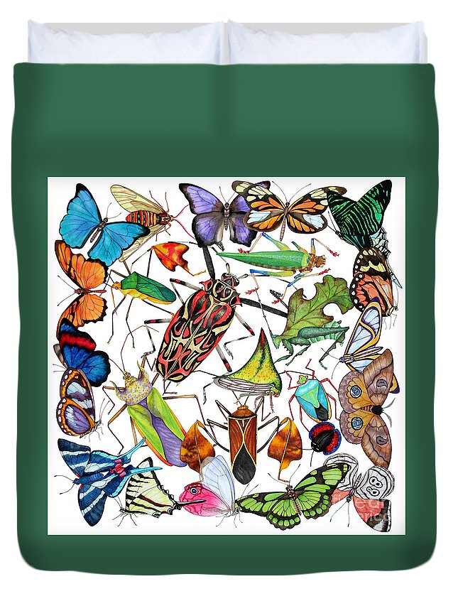 Insects Duvet Cover featuring the painting Amazon Insects by Lucy Arnold