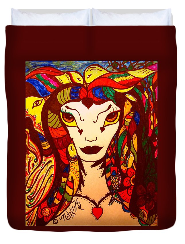 Fantasy Duvet Cover featuring the painting Amazon Queen by Natalie Holland