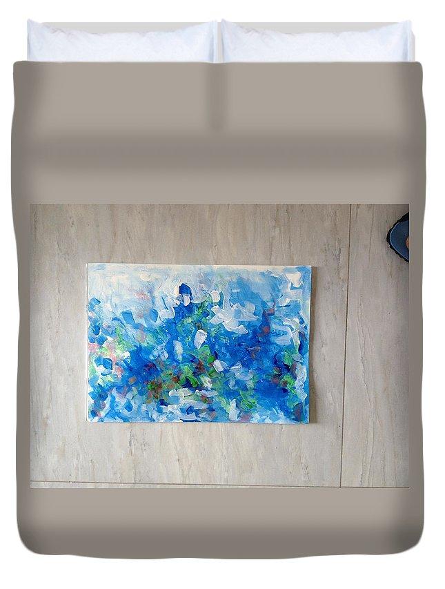 Landscape Duvet Cover featuring the pastel Amazonas by Matthew Adeyinka Olaiya