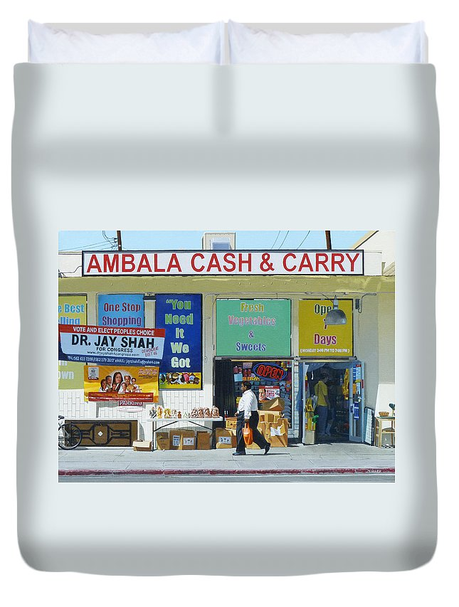 Ambala Duvet Cover featuring the painting Ambala Cash And Carry by Michael Ward