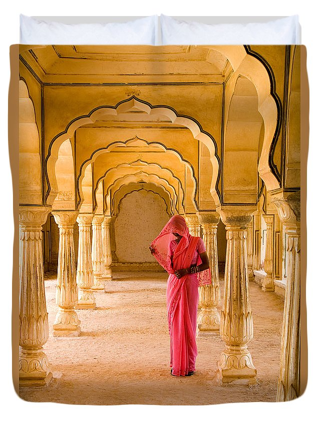 61-csm0077 Duvet Cover featuring the photograph Amber Fort Temple by Bill Bachmann - Printscapes
