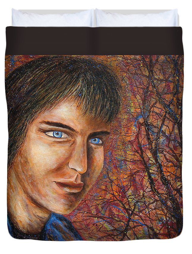 Colorful Autumn Duvet Cover featuring the painting Amber Glow by Natalie Holland