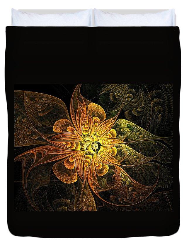 Digital Art Duvet Cover featuring the digital art Amber Light by Amanda Moore