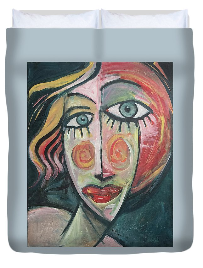 Woman Duvet Cover featuring the painting Amber by Tim Nyberg