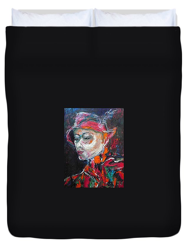 Portrait Duvet Cover featuring the painting Ambiguity by Ericka Herazo