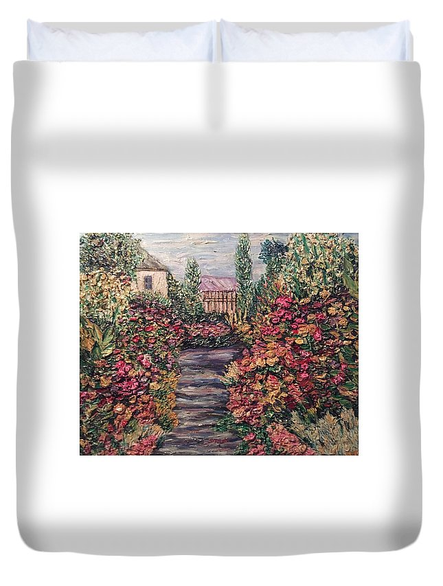Garden Duvet Cover featuring the painting Amelia Park Garden Flowers by Richard Nowak