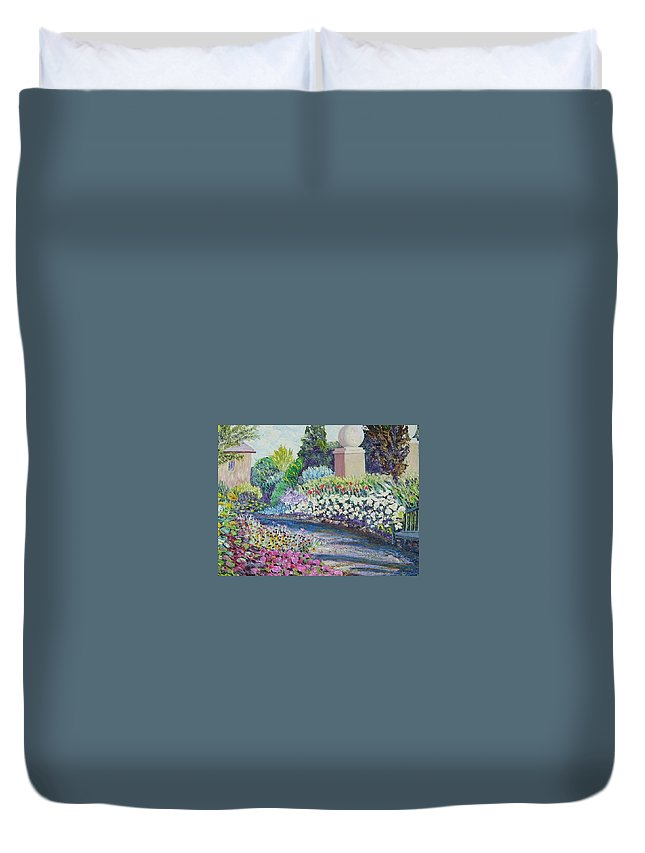 Flowers Duvet Cover featuring the painting Amelia Park Pathway by Richard Nowak
