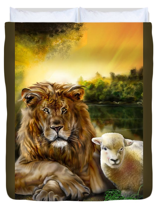Animals Duvet Cover featuring the painting Amen-so Shall It Be by Reggie Duffie