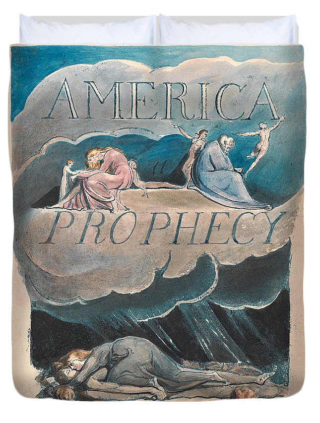 William Blake Duvet Cover featuring the drawing America. A Prophecy. Plate 2 by William Blake