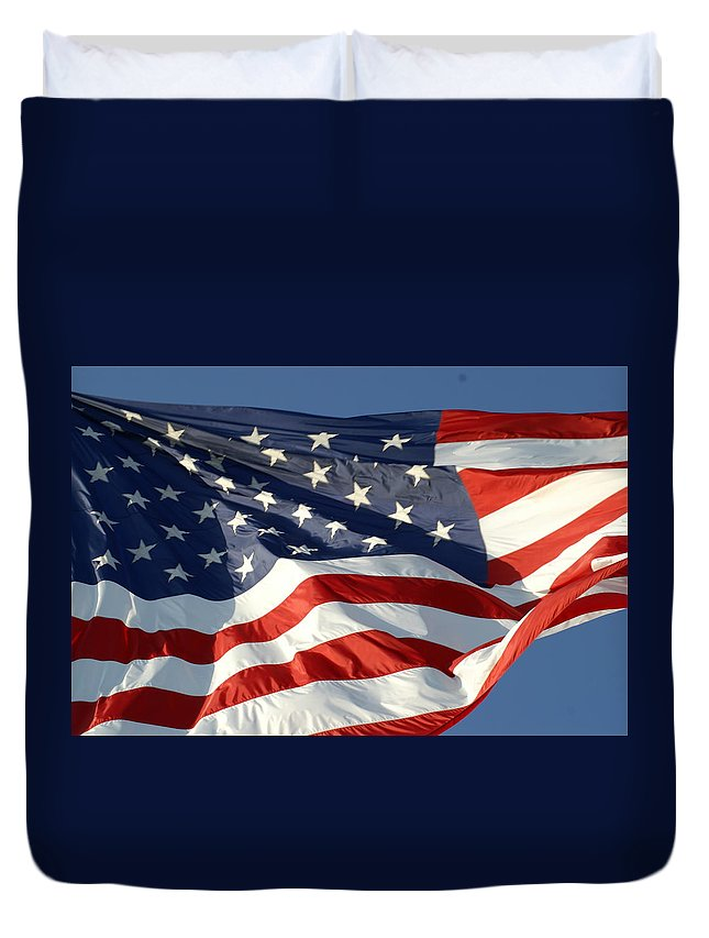 Duvet Cover featuring the photograph America by Preston Hazelton