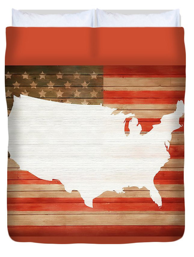 America Rustic Map On Wood Duvet Cover featuring the mixed media America Rustic Map On Wood by Dan Sproul