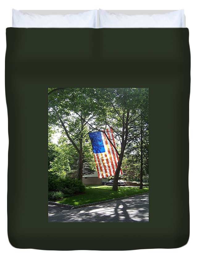 American Flag Duvet Cover featuring the photograph America The Beautiful by Laurie Paci
