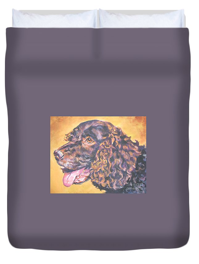 America Water Spaniel Duvet Cover featuring the painting America Water Spaniel by Lee Ann Shepard
