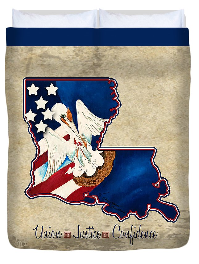American Flag Duvet Cover featuring the painting American And Louisiana Pride by Stacey Blanchard