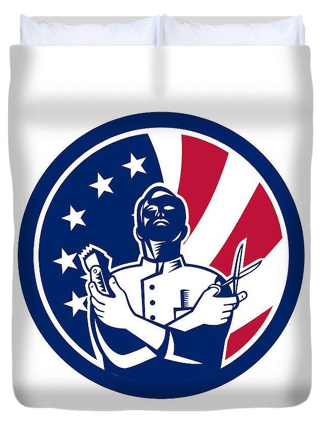 Icon Duvet Cover featuring the digital art American Barber Usa Flag Icon by Aloysius Patrimonio